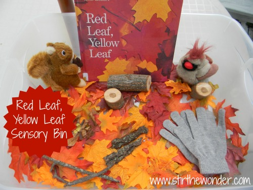 Red Leaf, Yellow Leaf Sensory Bin | Stir the Wonder #kbn #sensory #fall #autumn #redleafyellowleaf
