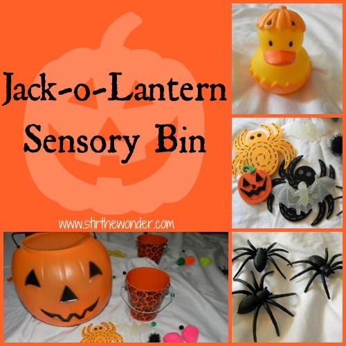 Jack-o-Lantern Sensory Bin | Stir the Wonder #kbn #sensory #halloween