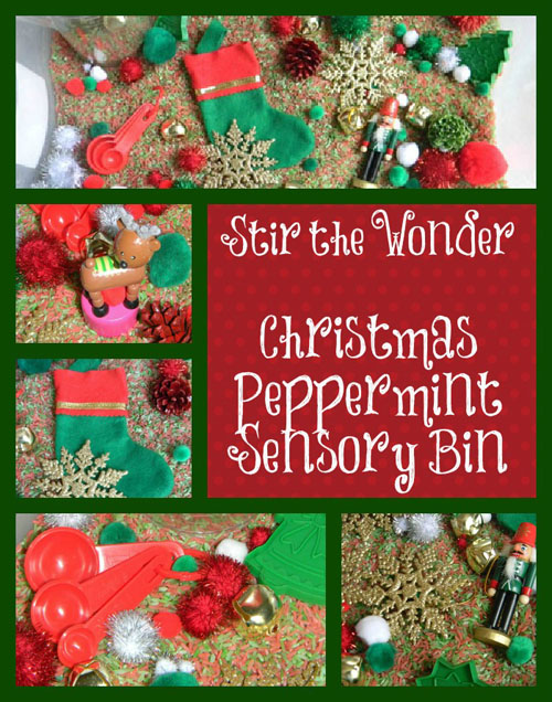 Christmas Peppermint Sensory Bin | Stir the Wonder #kbn #sensory #christmas