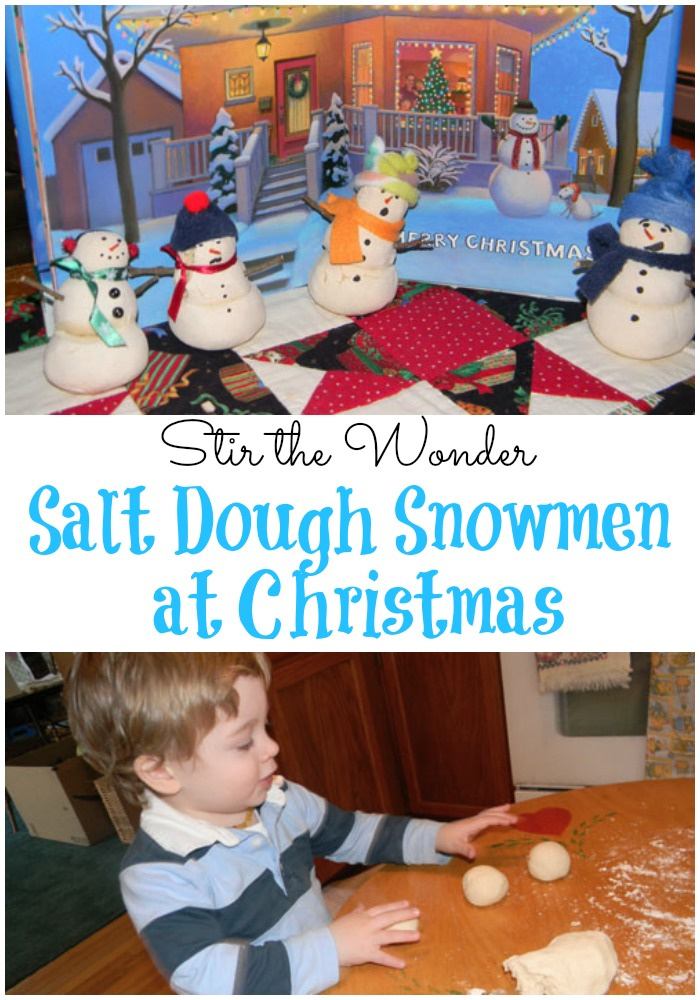 Salt Dough Snowmen at Christmas | Stir the Wonder #kbn #winter #crafts