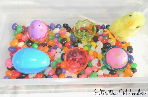 Jelly Bean Sensory Bin is a fun way to explore Easter!