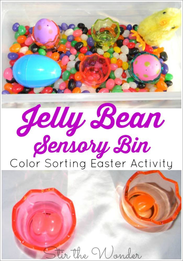Jelly Bean Sensory Bin a fun way for toddlers and preschoolers to practice coloring recognition and sorting!