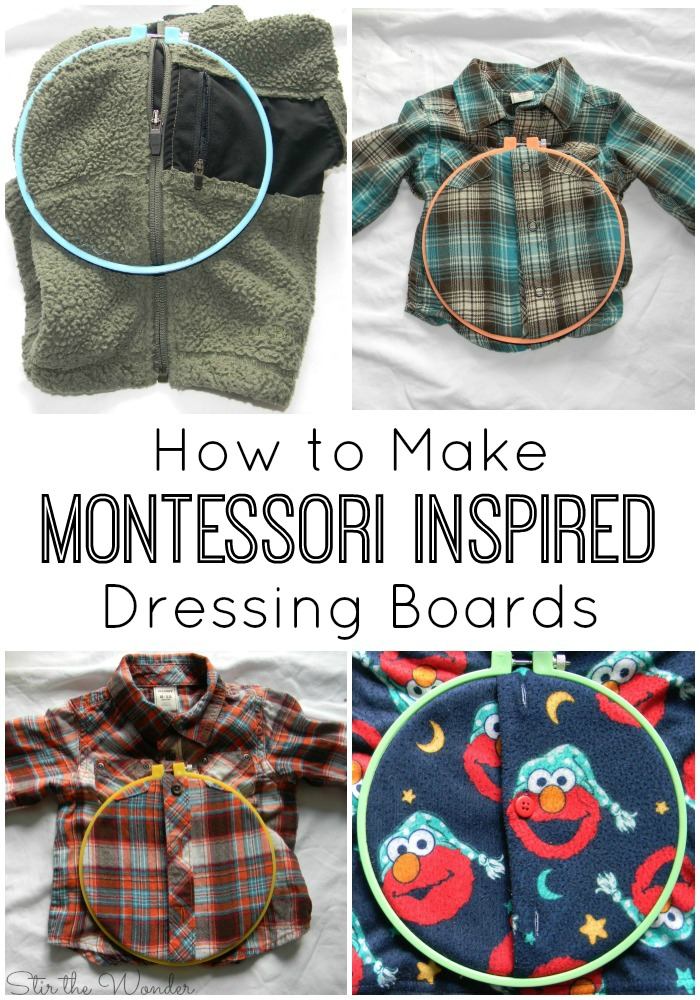 These super easy DIY Montessori Inspired Dressing Boards are a wonderful way to teach toddlers and preschoolers how to work those buttons, snaps & zippers so they can learn to dress themselves!