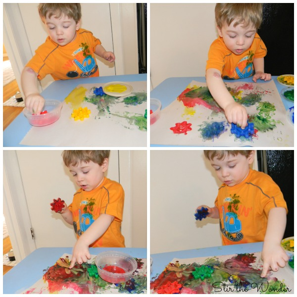 Painting with Gears is a simple process art activity for toddlers and preschoolers.
