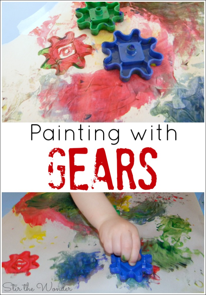 Painting with Gears is a fun way for toddlers and preschoolers to explore painting without brushes and printmaking!