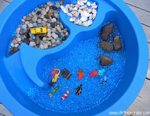 the materials i used to create this sensory table can be found at most craft stores and include