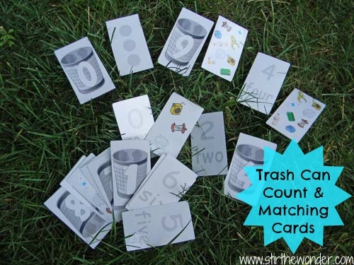 Trash Can Counting & Matching Cards