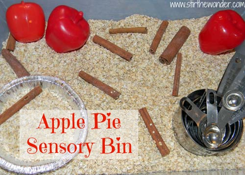 Apple Pie Sensory Bin | Stir the Wonder #kbn #sensory #apples