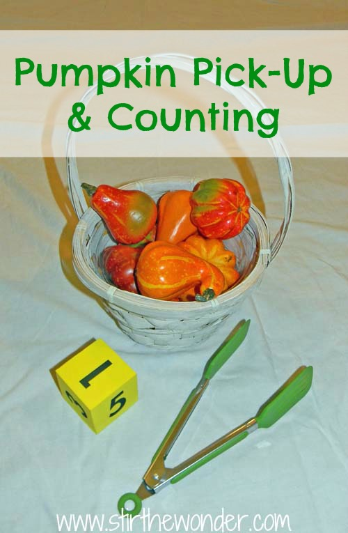 Pumpkin Pick-Up & Counting {Fine Motor Fridays}