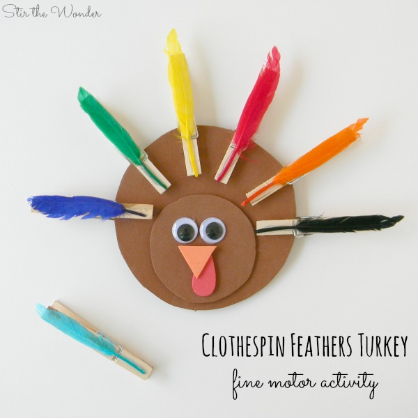 Clothespin Feathers Turkey for Fine Motor Skills