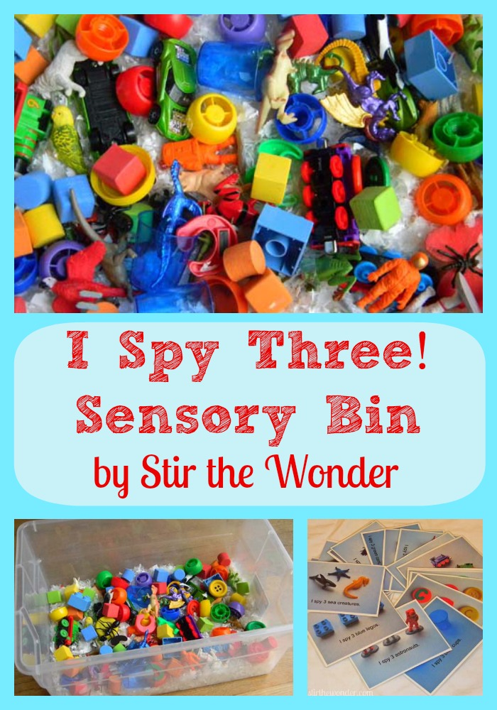 I Spy Three! Sensory Bin | Stir the Wonder #kbn #handsonplay #sensory