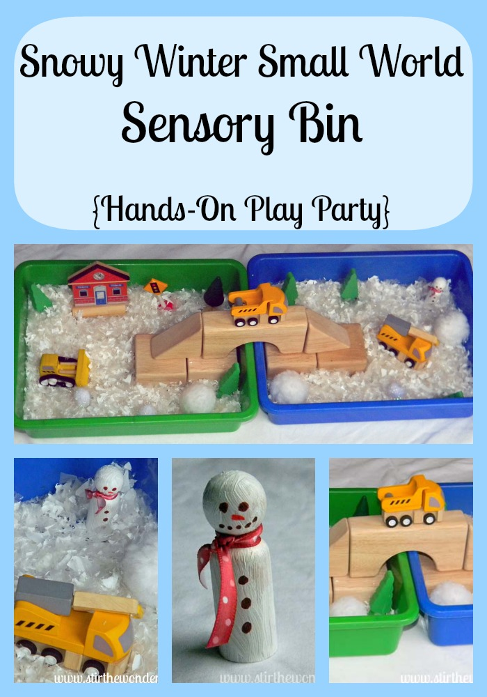 Snowy Winter Small World Sensory Bin {Hands-On Play Party} | Stir the Wonder #kbn #handsonplay #smallworld #sensory
