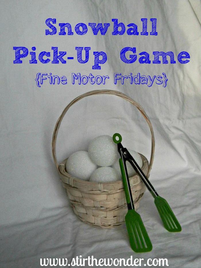 Snowball Pick-Up & Transfer {Fine Motor Fridays} | Stir the Wonder #kbn #finemotorfridays #finemotor