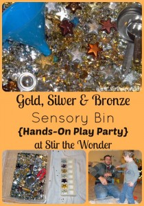 Gold, Silver & Bronze Sensory Bin {Hands-On Play Party} | Stir the Wonder #kbn #handsonplay #sensory