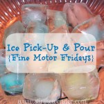 Ice Pick Up & Pour {Fine Motor Fridays} }| Stir the Wonder #kbn #finemotorfridays #finemotor #preschool