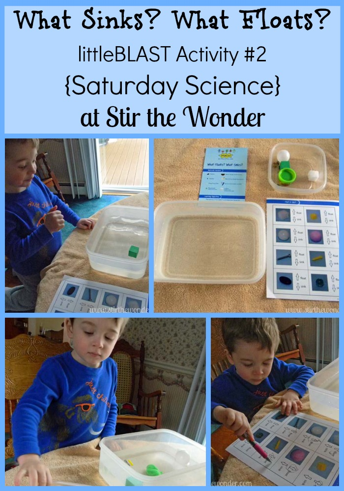 What Floats? What Sinks?: littleBLAST Activity #2 {Saturday Science} | Stir the Wonder #kbn #saturdayscience #science #preschool