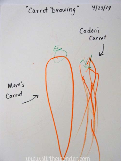 Carrot Drawing | Stir the Wonder #bfiar #handsonplay #preschoolart