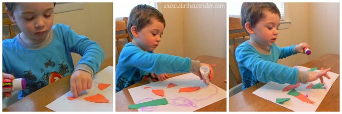 The Carrot Seed Collage | Stir the Wonder #bfiar #handsonplay #preschoolart