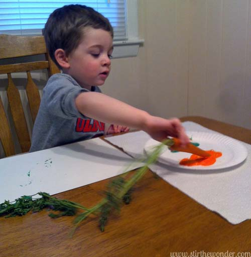 Painting with Carrots | Stir the Wonder #bfiar #handsonplay #preschoolart