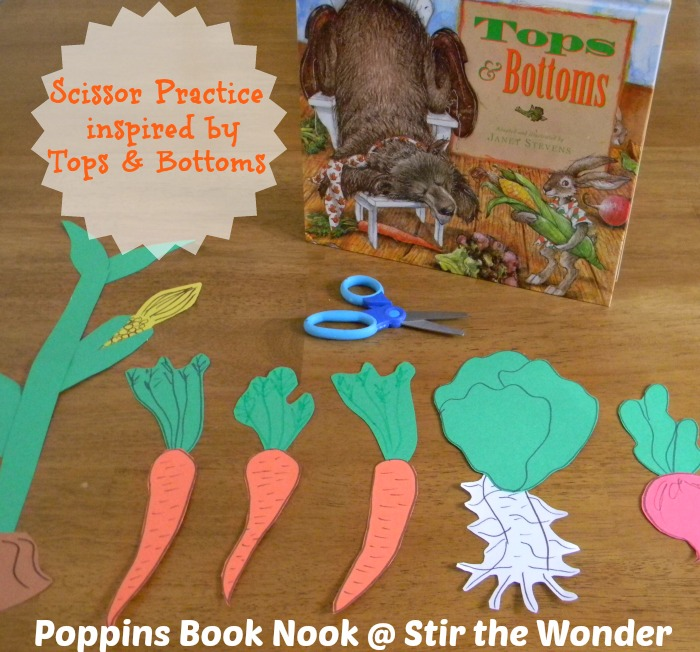 Scissor Practice inspired by Tops & Bottoms | Stir the Wonder #poppinsbooknook #finemotor #preschool