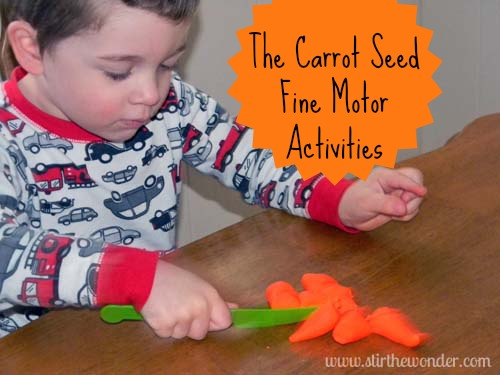 The Carrot Seed Fine Motor Activities | Stir the Wonder #finemotorfridays #bfiar #preschool