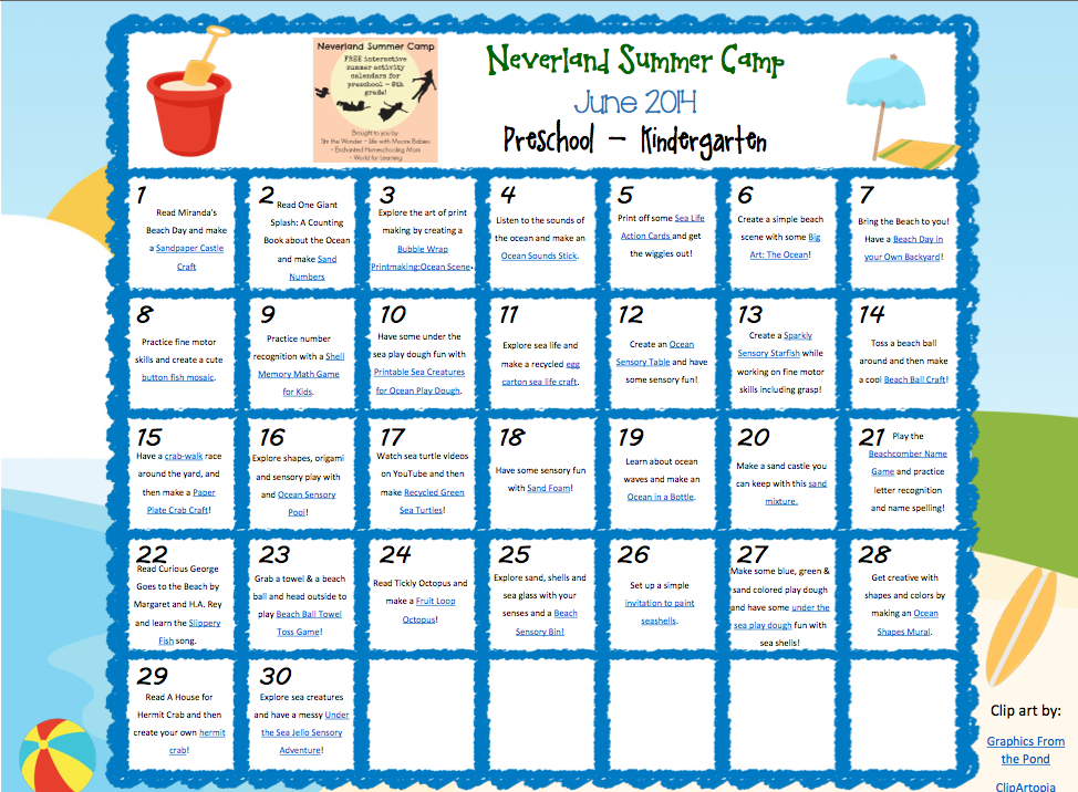 Neverland Summer Camp For Preschool & Kindergarten June Calendar