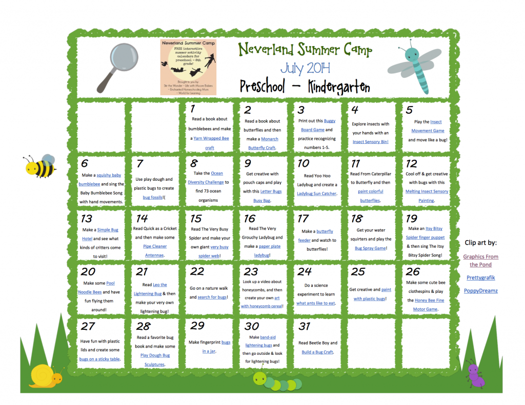 July Calendar Ideas : July neverland summer camp preschool kindergarten