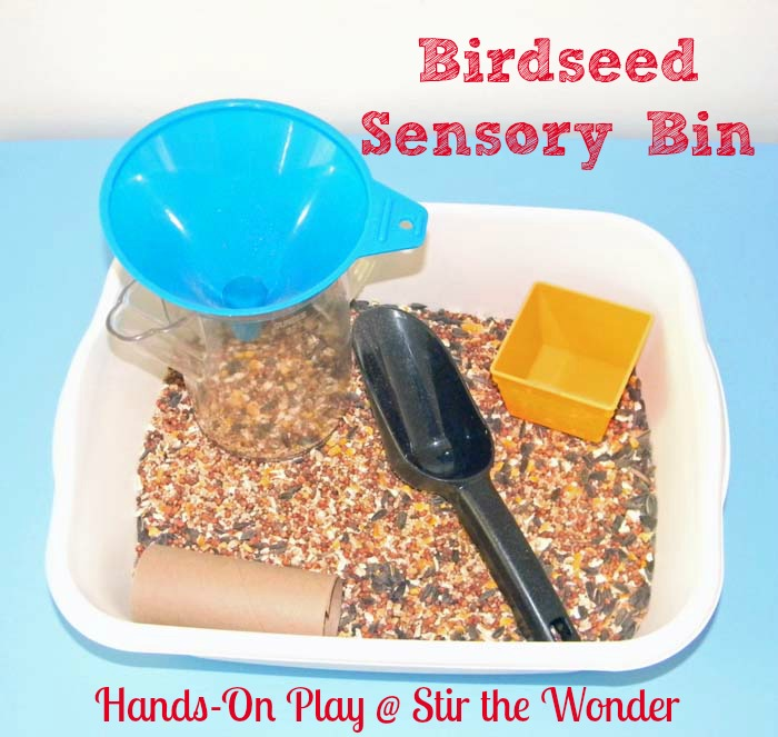 Birdseed Sensory Bin | Stir the Wonder #handsonplay #playmatters #kbn