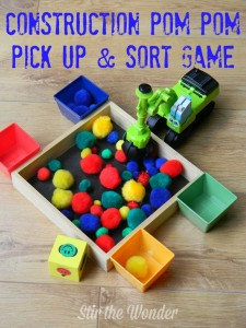 Construction Pom Pom Pick Up & Sort Game| Stir the Wonder #finemotorfridays #finemotor #preschool #kbn