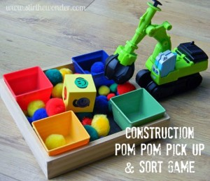 Construction pom pom pick up game