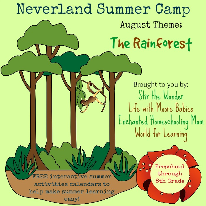 Neverland Summer Camp Preschool Calendar: The Rainforest