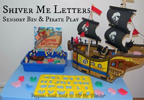 'Shiver Me Letters' Sensory Bin & Pirate Play | Stir the Wonder #poppinsbooknook #kbn #preschool