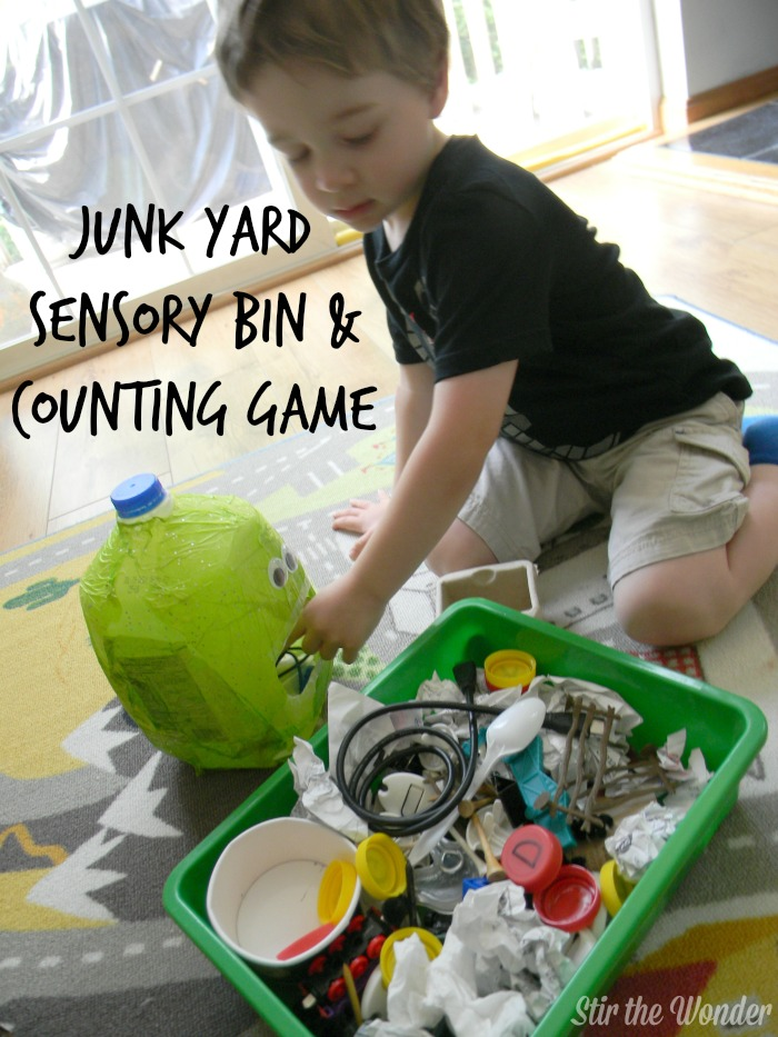 Junk Yard Sensory Bin & Counting Game | Stir the Wonder #handsonplay #kbn #preschool #math