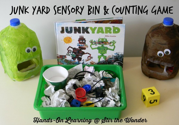 Junk Yard Sensory Bin & Counting Game | Stir the Wonder #handsonplay #sensory #preschool #math