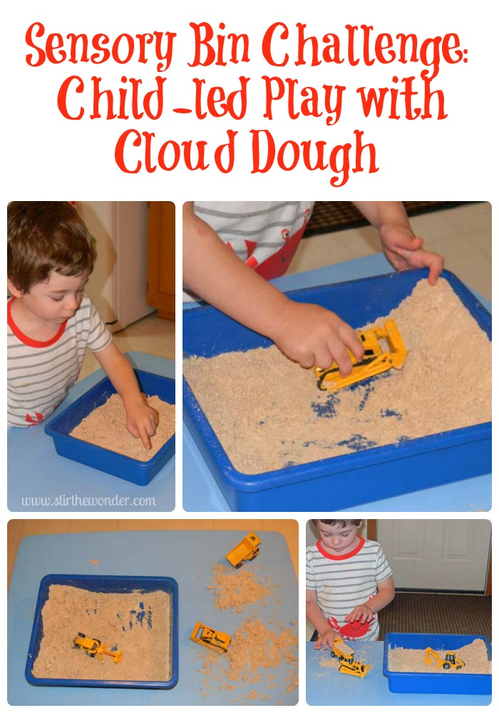 Sensory Bin Challenge: Child-led Play with Cloud Dough | Stir the Wonder #sensoryplay #clouddough #kbn