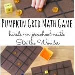 Pumpkin Grid Math Game | Stir the Wonder #handsonmath #preschoolmath #preschool #kbn
