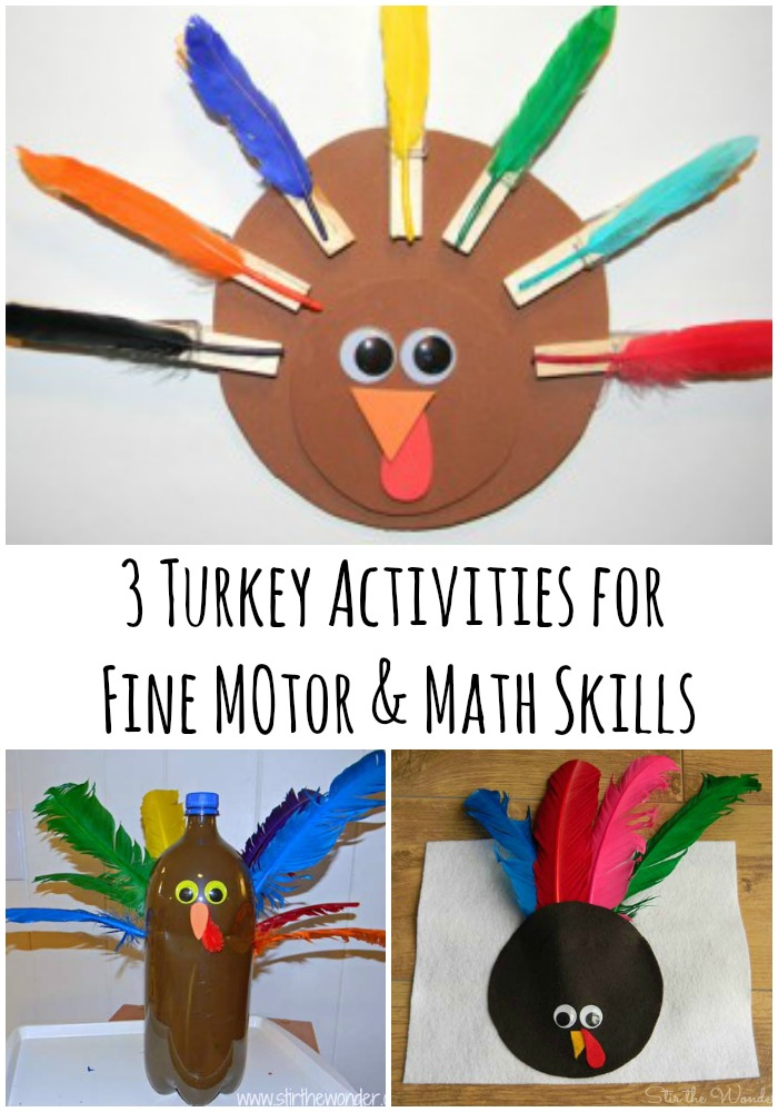 3 Turkey Activities for Fine Motor & Math Skills