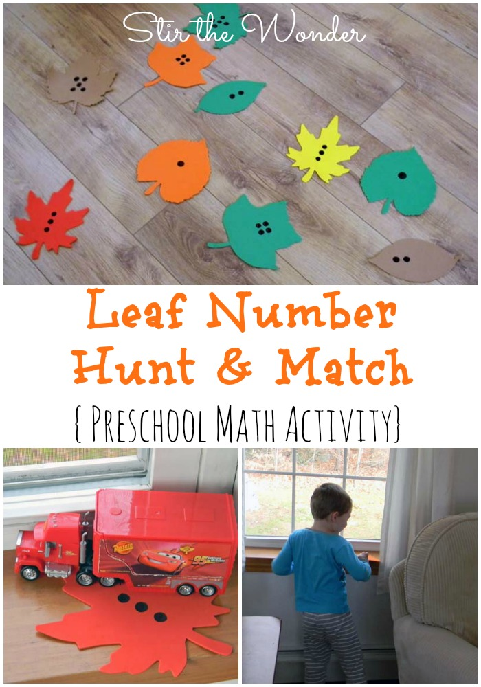 Leaf Number Hunt & Match | Stir the Wonder #STEM #preschoolmath #kbn