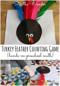 Turkey Feather Counting Game | Stir the Wonder #preschool #math #thanksgiving #handsonlearning