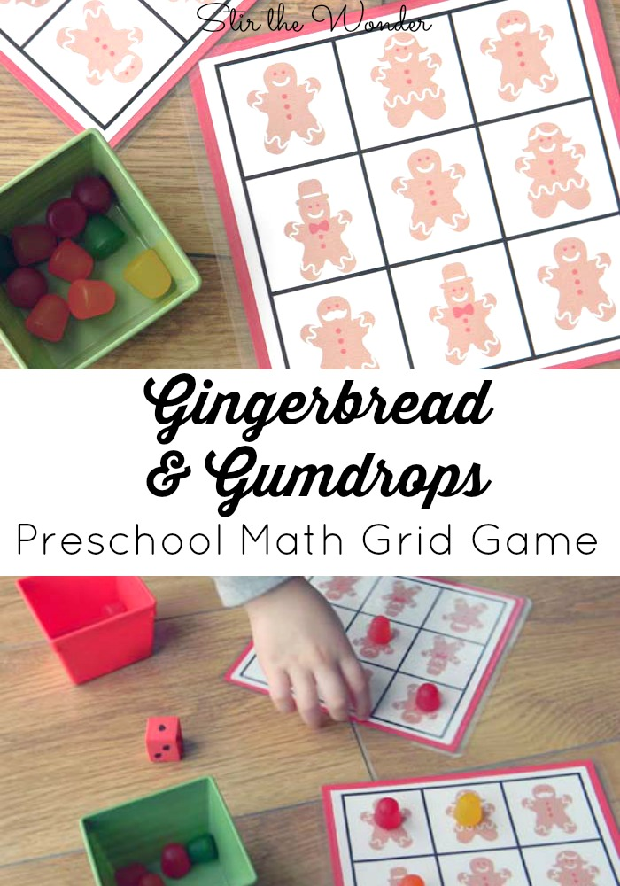 Gingerbread & Gumdrops: Preschool Math Grid Game {STEM with Candy Gumdrops brought to you by the STEM Saturday Blog Hop} | Stir the Wonder