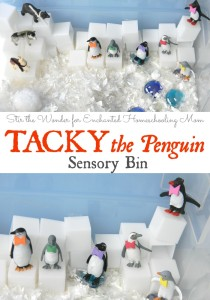 Tacky the Penguin Sensory Bin | Stir the Wonder for Enchanted Homeschooling Mom