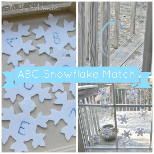ABC Snowflake Matching Game, a fun way for toddlers & preschoolers to practice letter recognition and fine motor skills