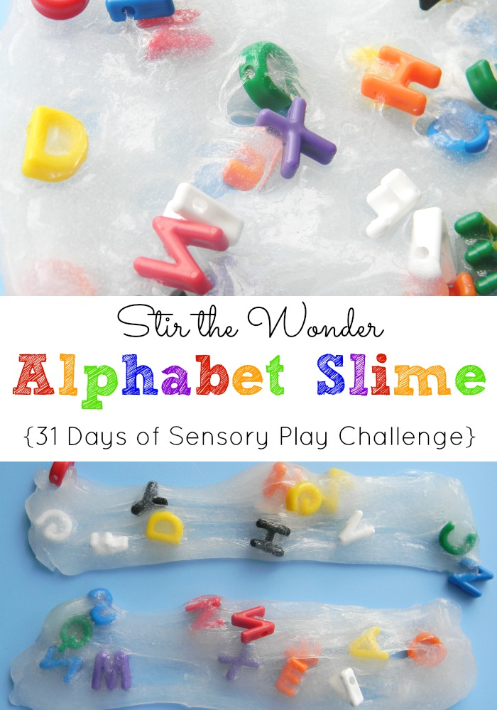 Alphabet Slime: 31 Days of Sensory Play Challenge | Stir the Wonder
