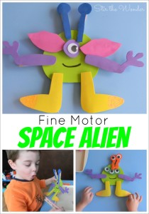 Toddlers and preschoolers will enjoy working on thier fine motor skills with this adorable Fine Motor Space Alien! | Fine Motor Fridays at Sir the Wonder