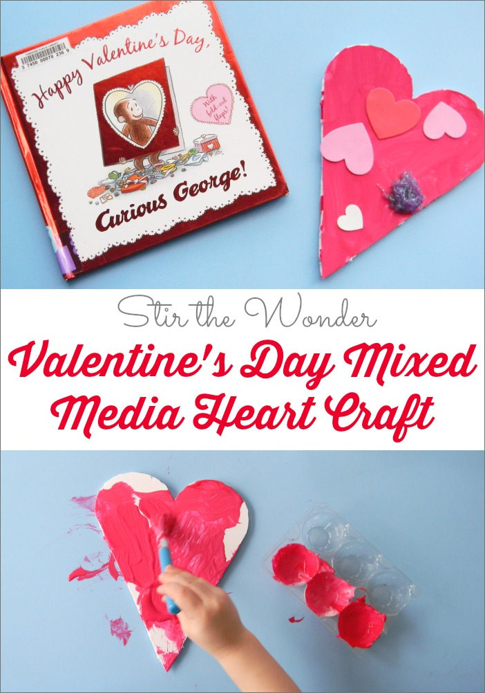 Valentine's Day Mixed Media Heart Craft, Read & Play at Stir the Wonder