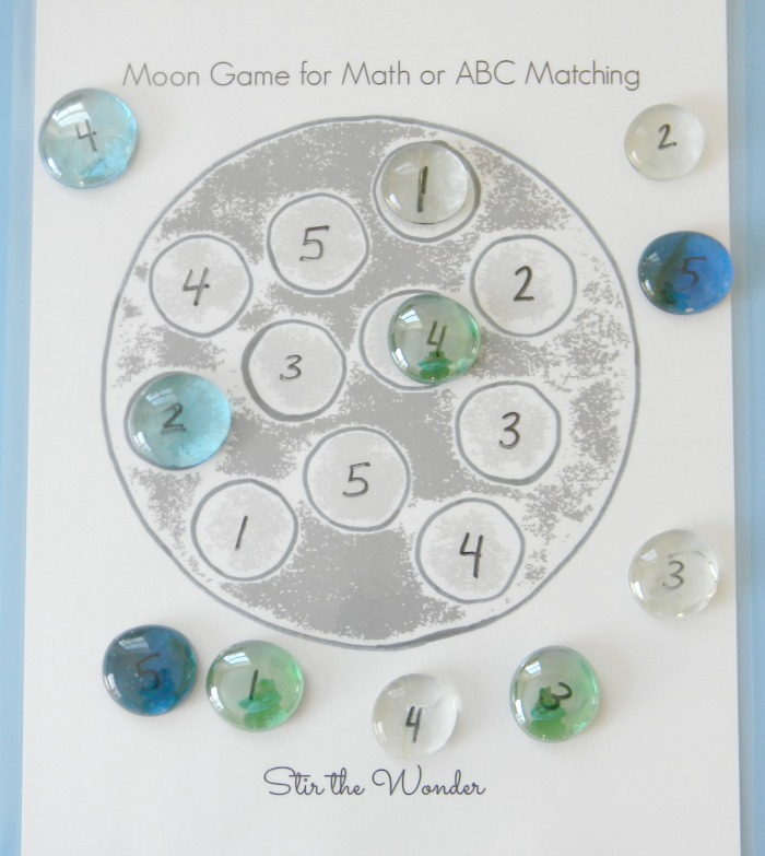 Use the Moon Math Game Board to practice number recognition with toddlers and preschoolers.
