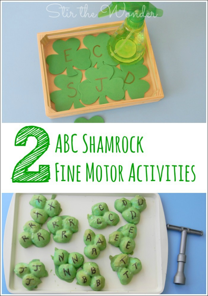2 ABC Shamrock Fine Motor Activities a fun way to practice letter recognition, fine motor skills and celebrate St. Patrick's Day!