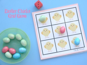 Easter Chicks Grid Game- Simple Printable Math Game for Preschoolers.