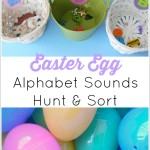 Easter Egg Alphabet Sounds Hunt & Sort is a fun way to practice letter recognition and learn alphabet sounds with Montessori alphabet sounds objects.