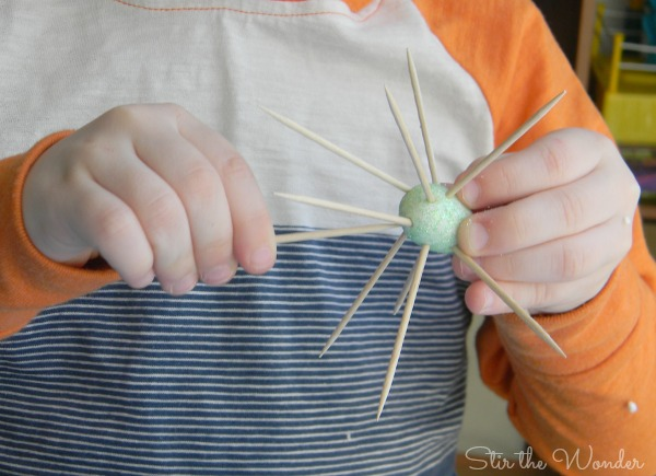 Easter Eggs and Toothpicks Fine Motor Activity | Stir the Wonder